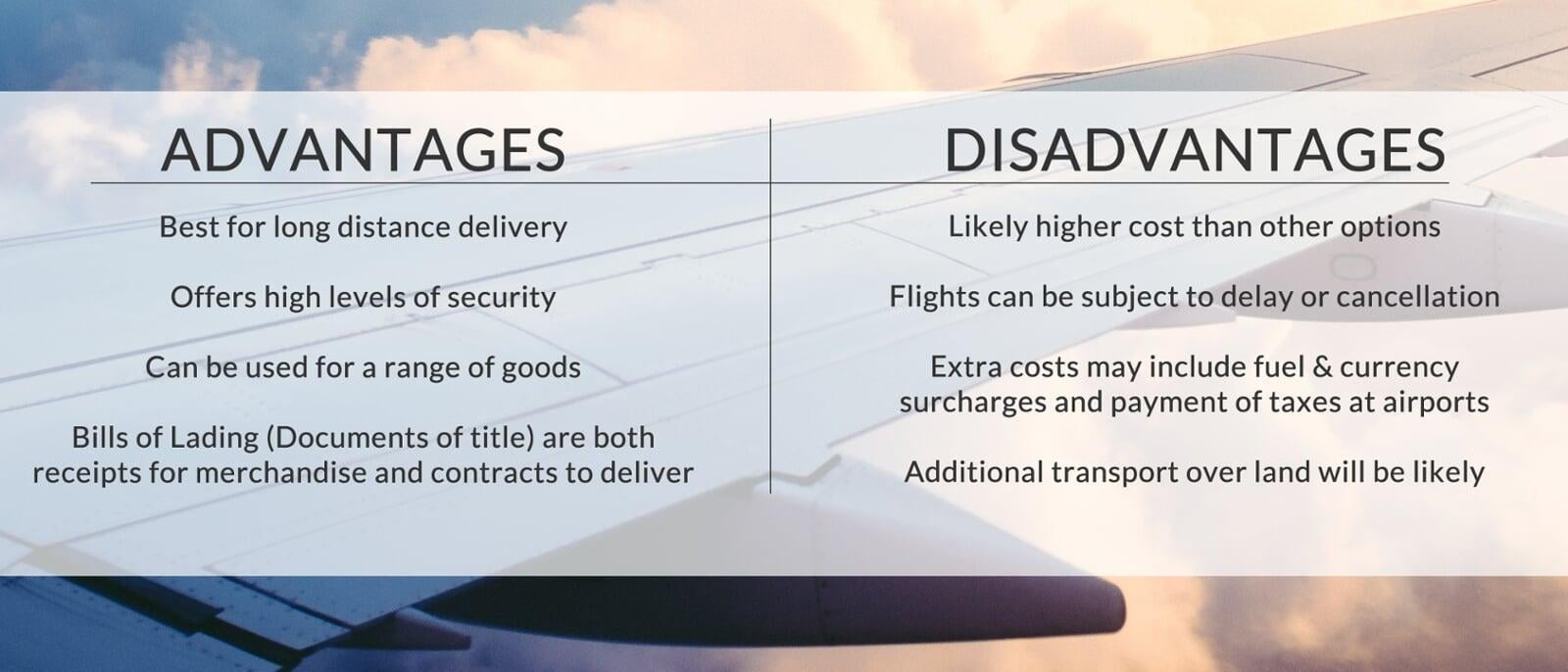 The advantages & disadvantages of air freight