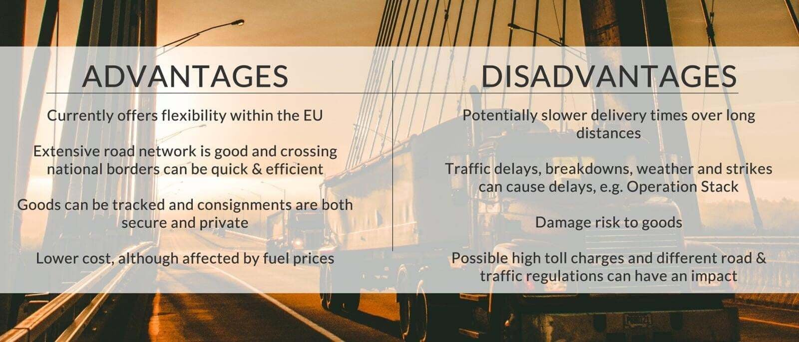 The advantages & disadvantages of road freight